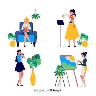 Mulheres, desfrutando, seu, tempo livre