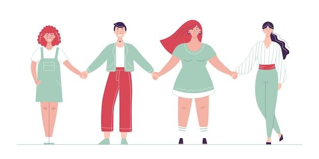 Mulheres diferentes enfileiradas de mãos dadas