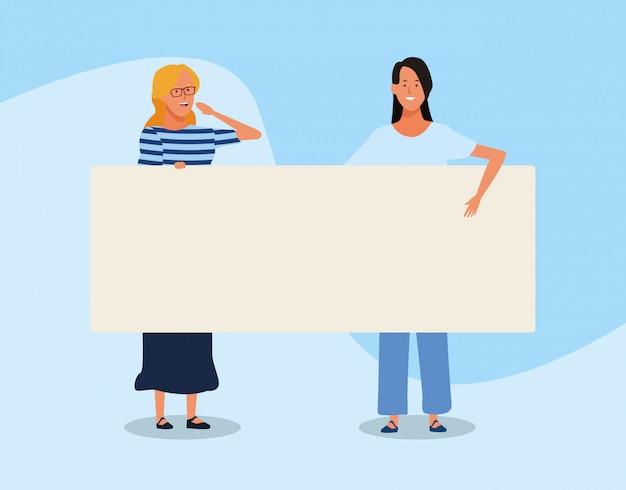 Mulheres dos desenhos animados com letreiro em branco