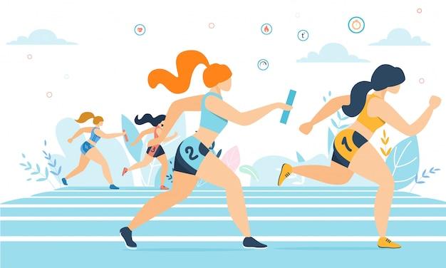 Mulheres dos desenhos animados, participando da maratona em execução