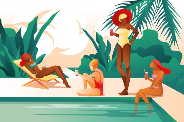 Mulheres dos desenhos animados perto da piscina beber coctail sunbathing