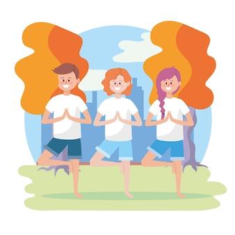 Mulheres, e, homem, prática, ioga posa