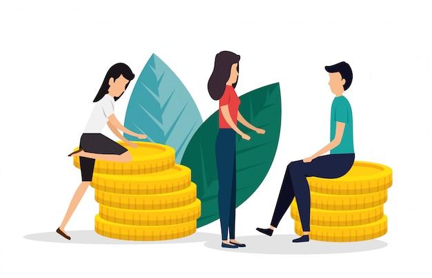 Mulheres e homem trabalho em equipe com moedas e folhas