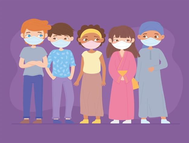 Mulheres e homens bonitos de diferentes etnias com máscaras médicas