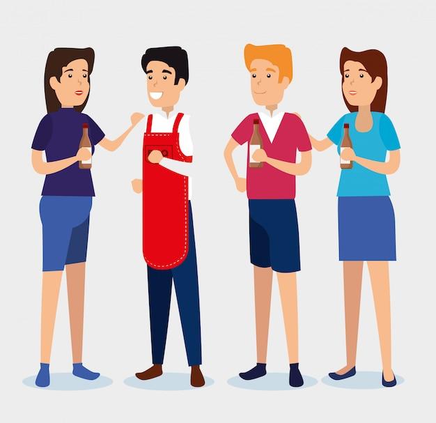 Mulheres e homens com molho de churrasco e avental