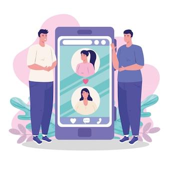 Mulheres e homens com smartphone conversando