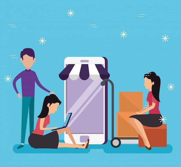 Mulheres e homens, compras on-line com tecnologia de smartphone