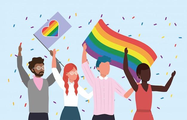 Mulheres e homens comunidade com bandeira de arco-íris para a liberdade