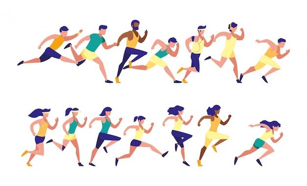 Mulheres e homens correndo conjunto