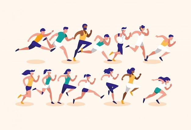 Mulheres e homens correndo