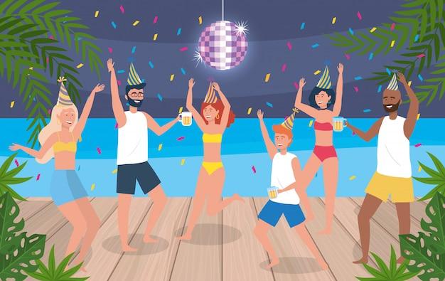 Mulheres e homens dançando com chapéu e confete decoração