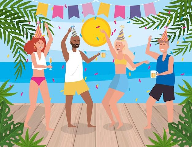 Mulheres e homens dançando em festa e plantas