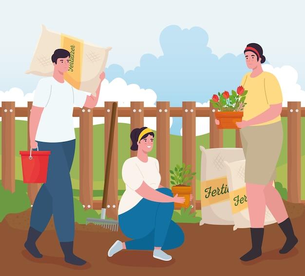 Mulheres e homens de jardinagem com plantas de sacos de fertilizantes e design de baldes, plantio de jardins e natureza