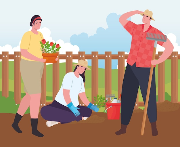 Mulheres e homens de jardinagem com rake de flores e design de baldes de ferramentas, plantio de jardins e natureza
