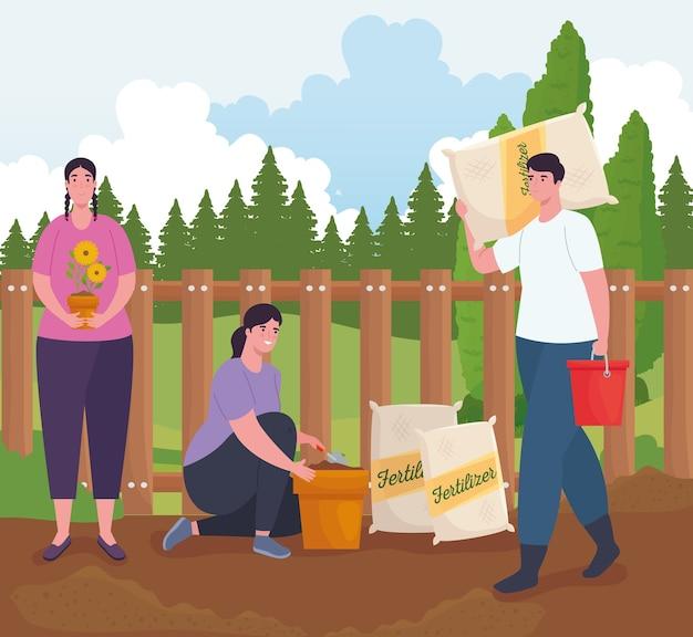 Mulheres e homens de jardinagem com sacos de fertilizantes e design de baldes, plantio de jardins e natureza