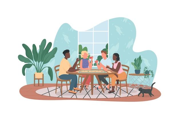 Mulheres e homens em casa festa personagens planos no fundo dos desenhos animados.