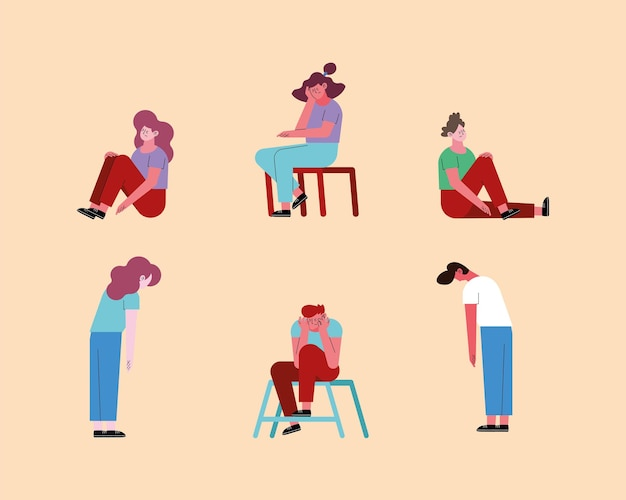 Mulheres e homens estressados