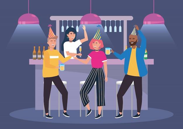 Mulheres e homens no evento com champagne e cerveja