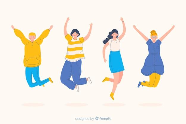 Mulheres e homens pulando e sendo felizes
