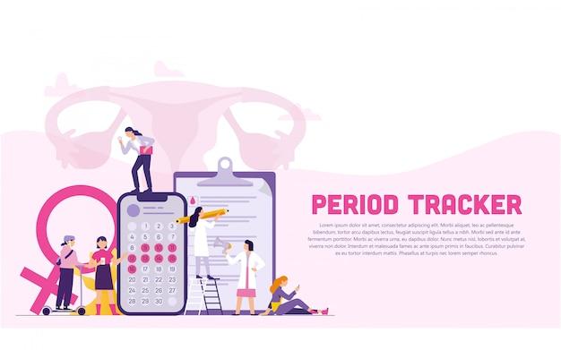Mulheres e médicos em equipe com o period tracker