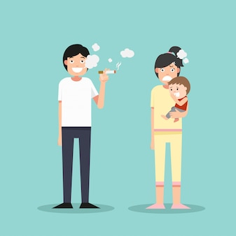 Mulheres e menino fedorento cigarro, homem fumando