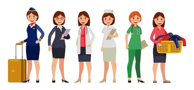 Mulheres em conjunto de caracteres de profissão diferente