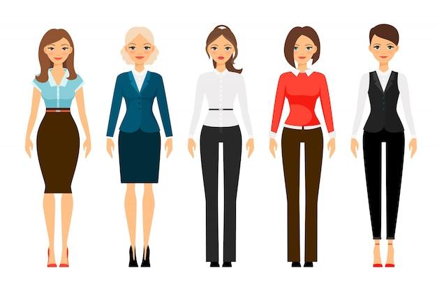 Mulheres, em, escritório, vestido, código, roupas, ícones