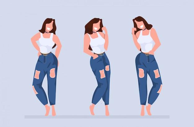 Mulheres em pé poses diferentes modelos de meninas sorridentes posando casual feminino cartoon personagens coleção comprimento total horizontal