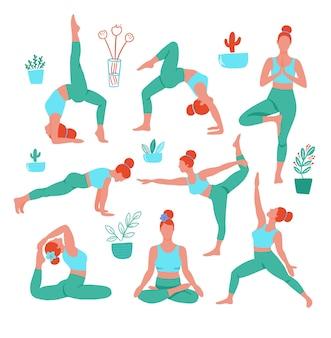 Mulheres em poses de ioga em cores esporte fecha em fundo branco. cartaz contemporâneo da tendência. personagens isolados.
