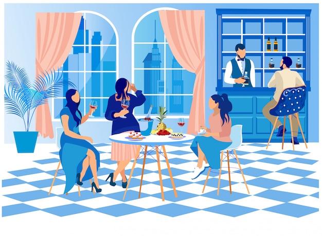 Mulheres, em, roupa elegante, sentar-se tabela, em, barzinhos