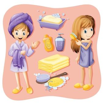 Mulheres em roupão de banho e conjunto de banheiro