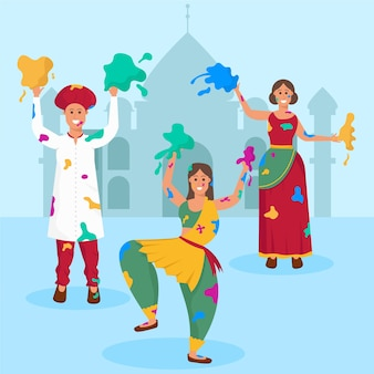 Mulheres em roupas tradicionais, comemorando o festival de holi