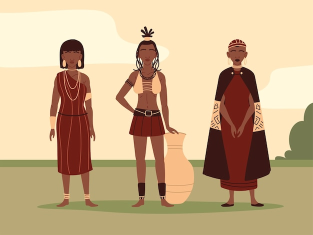 Mulheres em roupas tribais tradicionais