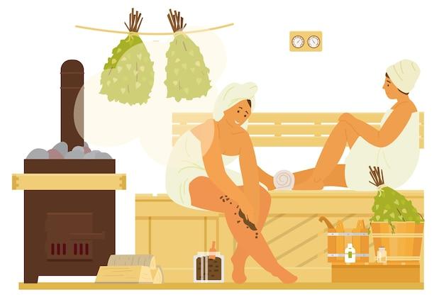 Mulheres em toalhas na sauna para relaxar, usando esfoliante corporal. banho de vapor interior com fogão, bancada, baldes, vassouras burch. ilustração plana.