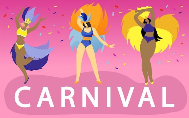 Mulheres, em, trajes extravagantes, dançar, ligado, carnaval, bandeira