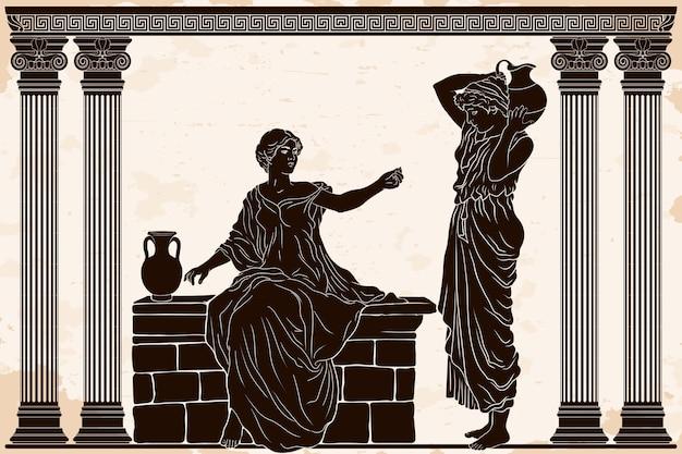 Mulheres em túnicas com jarros de barro conversam em um templo com colunas