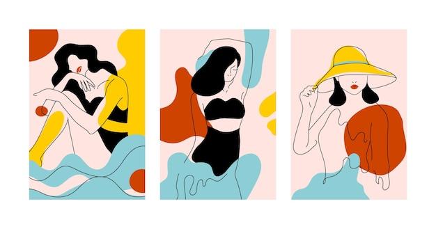 Mulheres em um conceito de estilo de arte de linha elegante
