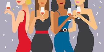 Mulheres, em, um, partido, ilustração