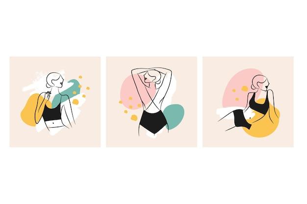 Mulheres em uma coleção elegante de estilo de arte de linha
