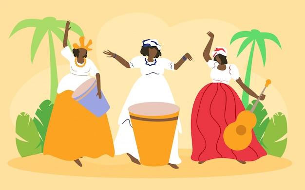 Mulheres em vestidos de carnaval com instrumentos musicais
