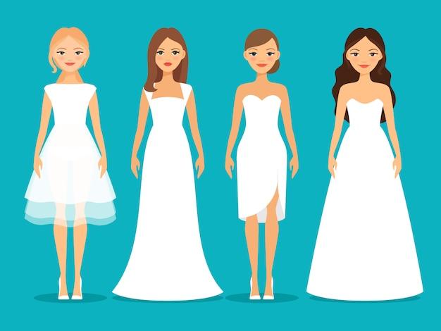 Mulheres em vestidos de noiva em fundo azul