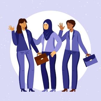 Mulheres empreendedoras confiantes desenhadas à mão livre