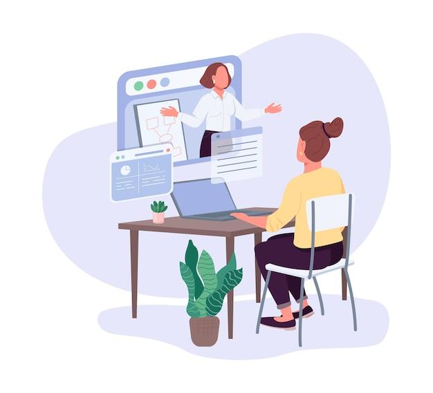 Mulheres empresárias cursos de negócios cor plana personagem sem rosto. oportunidades de desenvolvimento profissional. lição de liderança isolada ilustração cartoon para web design gráfico e animação
