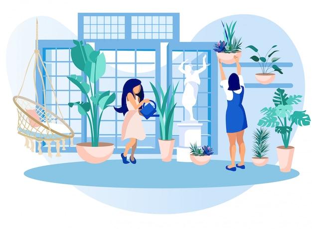 Mulheres, estufa, laranjal, cuidado, jardim, plantas