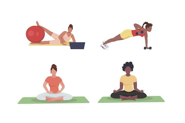 Mulheres exercitando conjunto de caracteres sem rosto de cor lisa