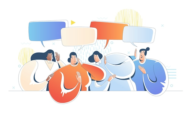 Mulheres falam e fofocam. as mulheres agrupam as redes sociais com balões de fala.