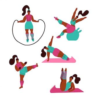 Mulheres fazendo esportes. poses de yoga, fitness com pular corda, kickboxing. treino no ginásio