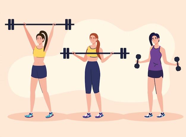 Mulheres fazendo exercícios com barra de peso ao ar livre, conceito de recreação esportiva