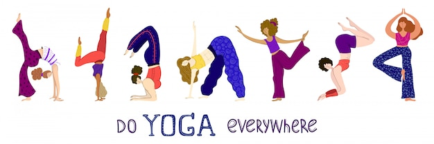Mulheres fazendo ioga na aula, lettering