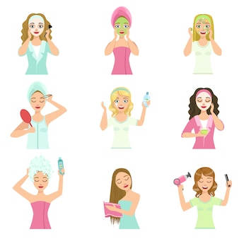 Mulheres fazendo procedimentos de tratamento de cabelo e pele em casa